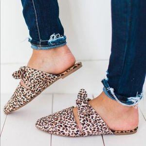 Shoes - BOW TOP FLATS MULE LEOPARD